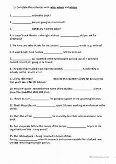 grammar worksheets who or whom 25034 relative pronouns who whom whose worksheet free esl printable worksheets made by teachers