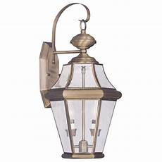 livex lighting providence 2 light brass outdoor wall lantern with clear beveled glass