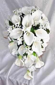 white calla lily lilies stephanotis cascade bridal bouquet silk wedding flowers ebay