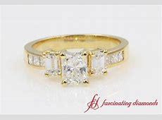 Channel Set Radiant Cut Three Stone Diamond Ring In 14k