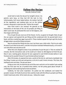 reading comprehension worksheet follow the recipe