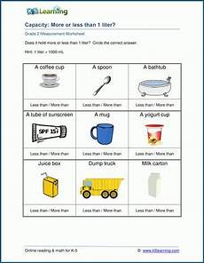 measurement worksheets k5 learning 1488 grade 2 capacity worksheets more or less than 1 liter k5 learning capacity worksheets