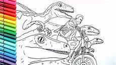 drawing and coloring jurrasic world raptor and motorbike