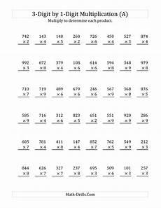 3 digit by 1 digit multiplication a math worksheet freemath tutoring pinterest math