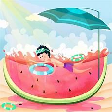 Liburan Musim Panas Berenang Semangka Musim Panas Panas