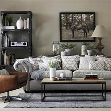 Grey Living Room With Chesterfield Sofa And Industrial