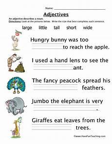 adjectives size worksheet have fun teaching