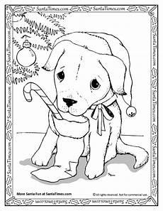 santa puppy printable coloring page more
