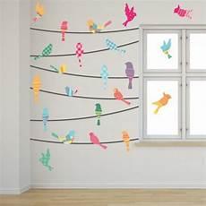 Wandbemalung Kinderzimmer Vorlagen - pattern birds on a wire wall mural decals wall murals