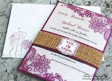 diy wedding invitations with burlap belly band burlap