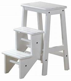 Kitchen Ladder India by 3 Step Wood Step Stool In White Finish Contemporary