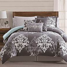 12 piece textured damask comforter in grey teal bed