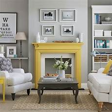 pale grey living room with yellow fireplace living room