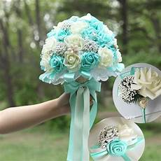 new blue wedding bouquets pe rose blue and white bridal bouquet beaded brooch