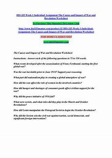 his 335 week 1 individual assignment the causes and impact of war and revolution worksheet by
