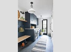Dark Blue Laundry Room and Mudroom Combo   Transitional