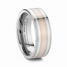 mens rose gold and silver inlay tungsten rings 8mm 10mm leelith