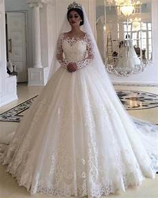 long sleeves wedding dresses lace ball gowns for bride alinanova