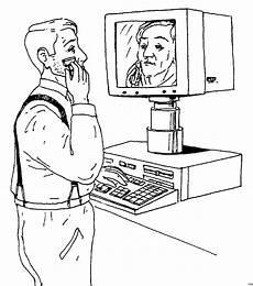 mann rasiert sich vor pc ausmalbild malvorlage sonstiges