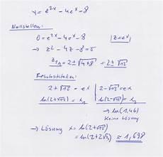 e funktion mit zwei e termen ableiten und nullstellen