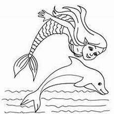 mermaid with a dolphin coloring pages hellokids