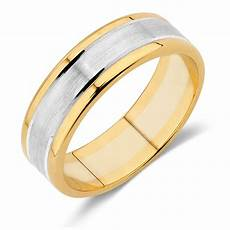 men s wedding band in 10ct yellow white gold