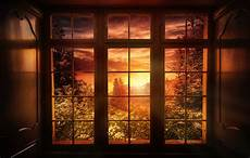 Wallpaper Sunset Nature Treatment Window