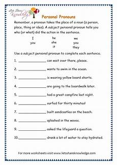 grade 3 grammar topic 10 personal pronouns worksheets