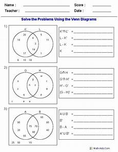 venn diagrams probability worksheets with answers 5956 venn diagram worksheets set notation problems using two sets venn diagram worksheet venn