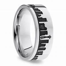 seattle skyline men s wedding ring in cobalt