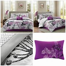 purple gray floral comforter king size 9 piece bedding sheets pillow shams ebay
