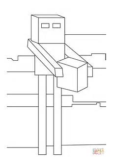 enderman is building a house from minecraft coloring page