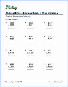4th grade math subtraction worksheet grade 4 math worksheet subtraction subtracting 4 digit
