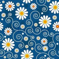 Blue Floral Pattern With White Stock Vector