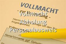 Vollmacht Abholung Personalausweis Muster Musterix