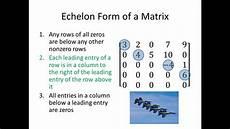 echelon form matrix elementary linear algebra echelon form of a matrix part 1 youtube
