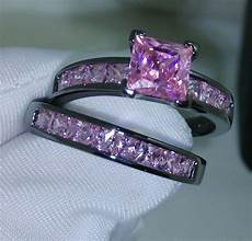 noble pricess cut pink sapphire 10kt black gold filled