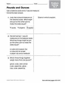pounds and ounces worksheet for 2nd 3rd grade lesson planet
