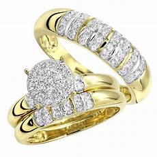 affordable diamond engagement ring and wedding band his hers 10k gold