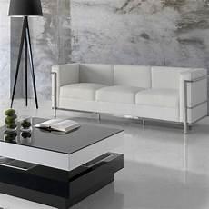 canap 233 3 places cuir blanc inox moderne design corbs