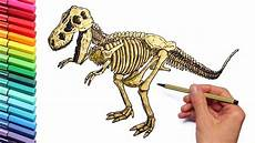 dinosaur skeleton color pages for childrens drawing and