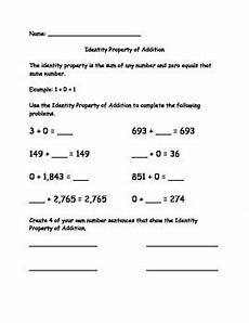 addition using properties worksheets for grade 1 9477 identity property of addition worksheet va sol 3 20b by donna park