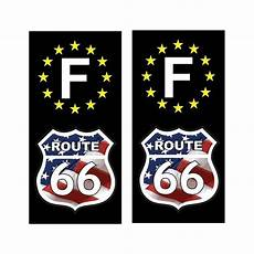 2 Stickers Autocollant Plaque D Immatriculation Route 66