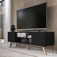 Meuble Tv Meuble Salon Vero Bois 150 Cm Noir Mat