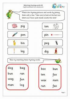 free english worksheets for year 1 rhyming words rhyming pictures words