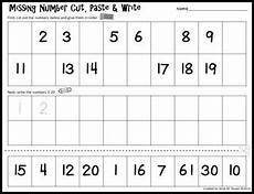 simple missing number cut paste write by kinesthetic classroom