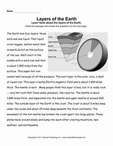 layers of the earth worksheet earth layers comprehension