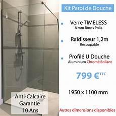 kit paroi de en verre tremp 233 anti calcaire
