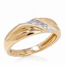 hsn 10k yellow gold slant band wedding ring with 3 diamond