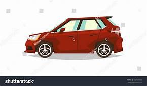 Red Car Hatchback Side View Transport Stock Vector
